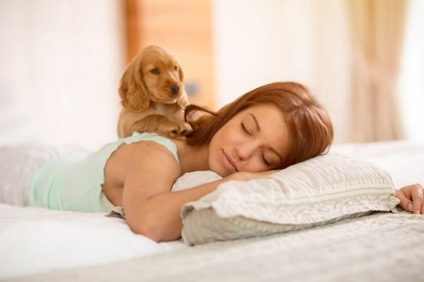 ベッドで犬と一緒に寝る女性