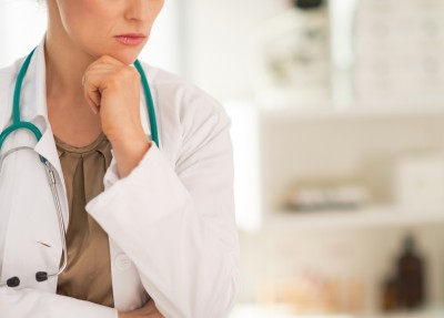 Closeup on thoughtful medical doctor woman in office